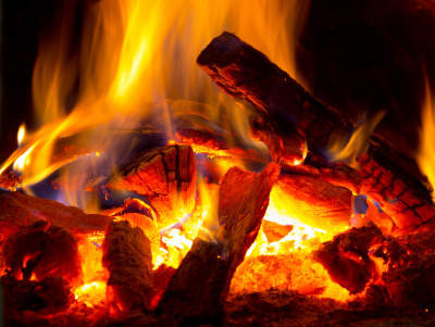 fireplace log fire